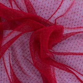 Tulle plissé Point d'esprit Dorine - rouge x 10cm