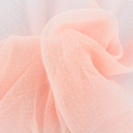Point d'esprit Pleated Tulle fabric - Red Dorine x 10cm