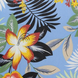 ♥ Coupon 90 cm X 140 cm ♥ Tissu rayonne Honolulu - bleu ciel