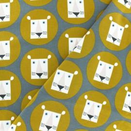 Organic and Oeko-Tex cotton jersey fabric - Grey Alex the lion x 10cm