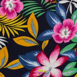 Rayon fabric - Navy blue Honolulu x 20cm