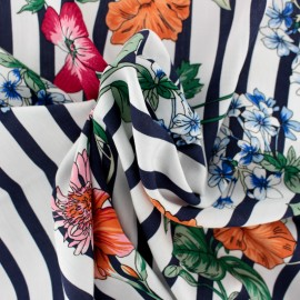 ♥ Coupon 100 cm X 140 cm ♥ Rayon fabric - navy blue Dolce Vita
