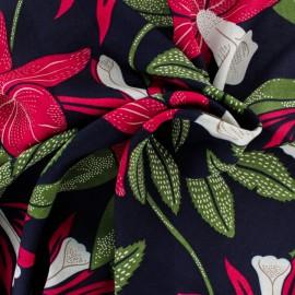 Rayon fabric - black Passiflora x 30cm