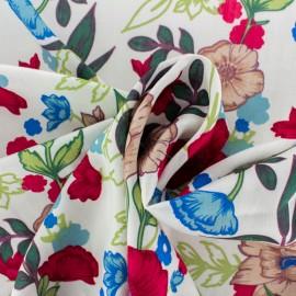 Rayon fabric - white Bucolic Garden x 20cm