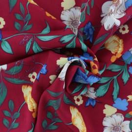 Tissu rayonne Jardin bucolique - rouge x 20cm