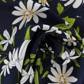 Rayon fabric - Navy blue Blandine x 20cm