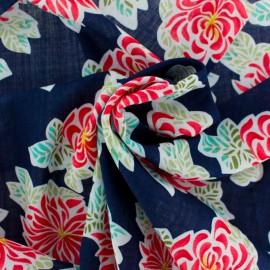 Tissu coton rayonne Moorea - bleu marine x 10cm