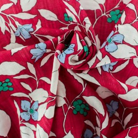 Cotton Rayon fabric - red Moorea x 10cm