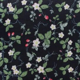 Tissu coton rayonne Fraisier - noir x 10cm