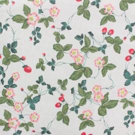 Cotton Rayon fabric - white Strawberry x 10cm