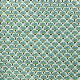Tissu coton crétonne enduit Eventail - lagon x 10cm