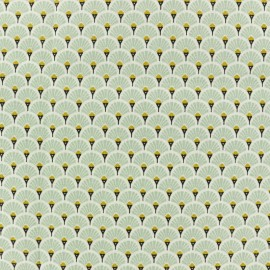 Coated cretonne cotton fabric - lagoon blue Eventail x 10cm