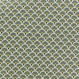 Coated cretonne cotton fabric - Khaki green Eventail x 10cm