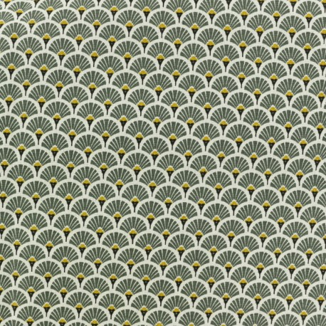 Coated cretonne cotton fabric - Khaki green Eventail x 10cm