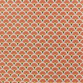 Tissu coton crétonne enduit Eventail - vert kaki x 10cm