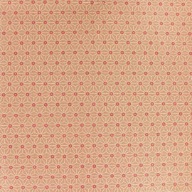 Coated cretonne cotton fabric - Coral pink saki x 10 cm
