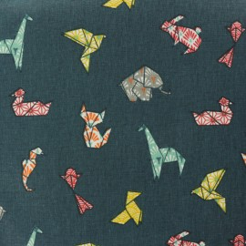 Tissu coton cretonne enduit Cocotte en papier - bleu pétrole x 10cm