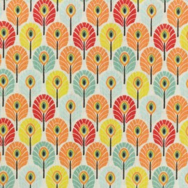 Oeko-tex cretonne cotton fabric - Multi Summer Plume de paon x 10cm