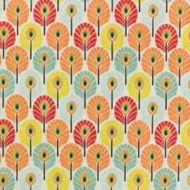 Tissu coton cretonne Plume de paon - Multi Summer x 10cm
