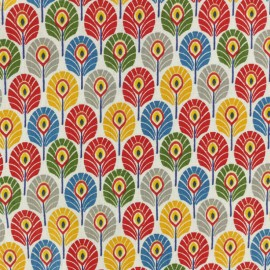 Coated cretonne cotton fabric - Multi Summer Plume de paon x 10cm