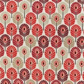 Tissu coton cretonne enduit Plume de paon - Bordeaux x 10cm