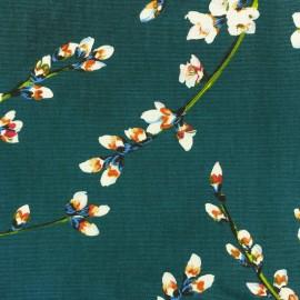 Tissu toile coton Fleur d'amandier - vert paon x 50cm