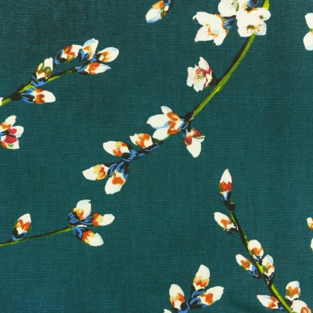 Cotton fabric - Peacock green Almond Blossom x 50cm