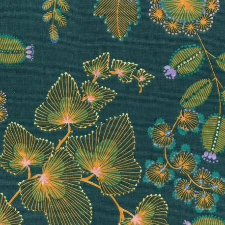 Cotton fabric - Peacock green Phoenix x 50cm