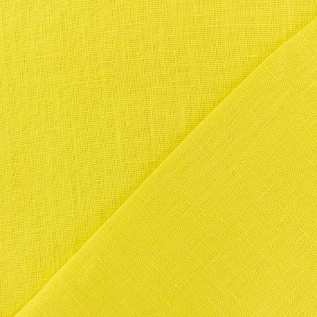 Thevenon washed Linen Fabric - Lemon Yellow x 10cm