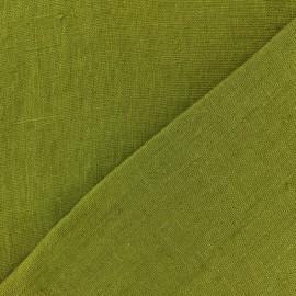 Tissu lin lavé Thevenon - vert olive x 10cm