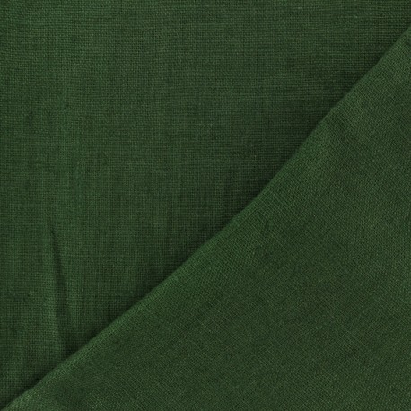 Thevenon washed Linen Fabric - Olive green x 10cm