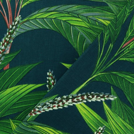 Cotton fabric - Peacock green Palm x 50cm