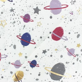 Tissu Jersey Space planet - blanc x 30cm