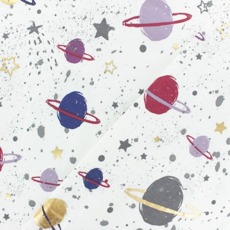JERSEY FABRIC - white Planet x 30CM