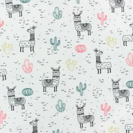 Tissu Jersey Lama de la pampa - blanc x 10cm