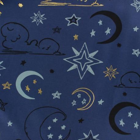 Tissu Jersey Ciel de minuit - gris x 10cm