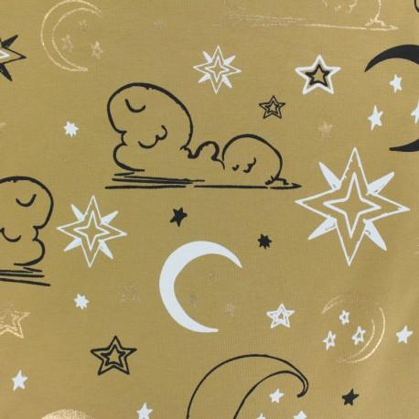 Tissu Jersey Ciel de minuit - jaune x 10cm