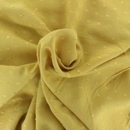 Tissu Viscose plumetis Félicie - jaune moutarde x 10cm