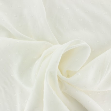 Plumetis Viscose fabric - off-white Félicie x 10cm