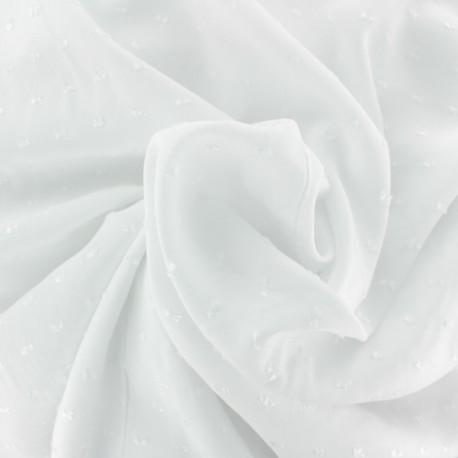 Plumetis Viscose fabric - white Félicie x 10cm