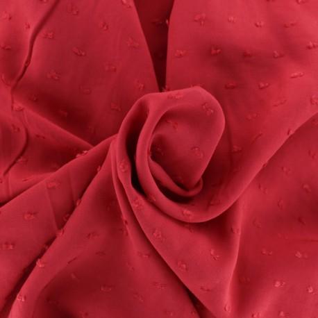 Plumetis Viscose fabric - Red Félicie x 10cm