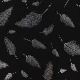 Rayon fabric - Black/silver feather x 10cm