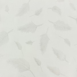 Rayon fabric - white/silver feather x 10cm