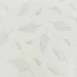 Tissu Rayonne Plume - blanc/argent x 10cm