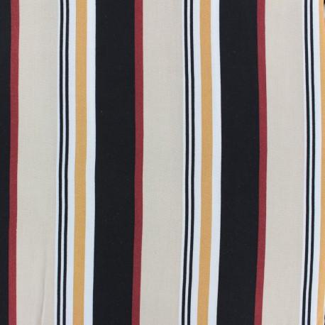 Striped Viscose fabric - Black and white French Riviera x 10cm