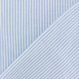 Tissu Seersucker chambray élasthanne rayé - bleu ciel x 10cm