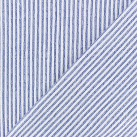 Striped Chambray Seersucker fabric - blue x 10cm