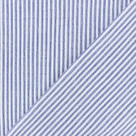 Striped Chambray Seersucker fabric - sky blue x 10cm