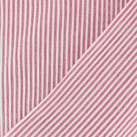 Striped Chambray Seersucker fabric - red x 10cm