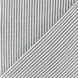 Striped Chambray Seersucker fabric - black x 10cm